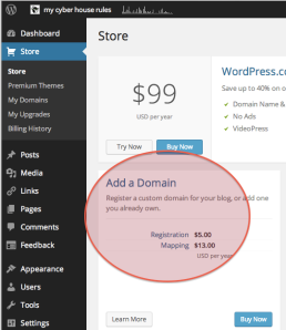 Buy a domain on WP