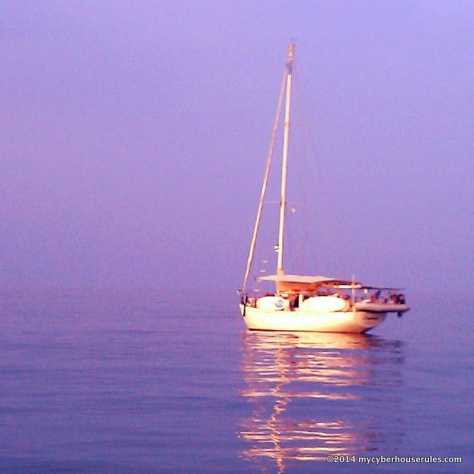 A friend's glowing boat in the morning's sunrise