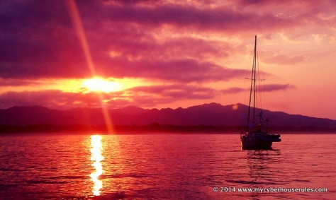 Anchored under a maroon sky